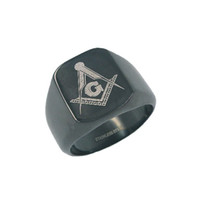 Wholesale Black Plated Masonic Ring Stainless Steel Jewelry Classic Freemasonry Mason Motor Biker Men Ring SJR0009B