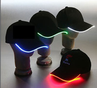 Wholesale NEW Original LED Flashing Hat can adjustment size optical Fiber Cap Baseball cap for party gift
