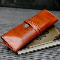 Wholesale DHL Women cosmetic case High class Synthetic Leather Soft Makeup bag pencil bag Pocket wallet Pencil Case Pen Bag