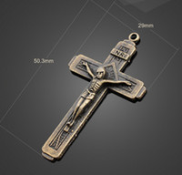 Charms large cross jewelry - Bulk Zinc Alloy Antique Bronze Large Cross Christian FATIMA Charms Pendant Necklace Crafted DIY Jewelry Findings A13611
