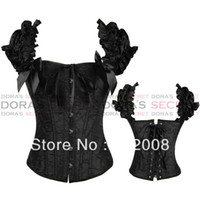 Women Bodysuit Bustiers & Corsets NEW Sexy White Black Full Steel Bones Lace Up Corset Top Bustier with G-string S-XXL