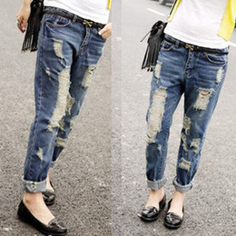 Wholesale 2015 promotion time limited hollow out patchwork mid korean boyfriend jeans big yards loose drawing hole collapse ripped jeans for women