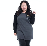 Cotton Pullover Cotton,Polyester 2014 new Fat women big size outwear s women winter PU leather pocket patchwork European style plus size clothing