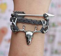 arrow leather - Arrows Bracelet Deer Skull Head Bracelet Silver Infinity Wish karma bracelet Grey Flocking Leather bracelet Grey Bracelet
