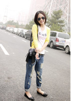 Wholesale women new fashion summer spring Korean style of the large size hole brushed loose trousers pants