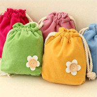 Fabric Sundries Cotton Free Shipping 1pcs lot Cute Drawstring Storage Bag Pouch Purse Pocket Sanitary Napkins Holder Bags