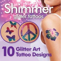 Wholesale EMS New Arrival Shimmer Glitter Tattoos Body Art Tattoo Kit Kids K07667