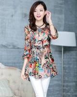 Chiffon SG583 Long Free Shipping-SG583-Spring 2014 Plus Size Slim Waist Medium-long Print Chiffon Woman Clothes Blouse Atacado Roupas Femininas