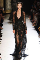 Reference Images V-Neck Lace Fashion New Arrival Sexy Deep V Neck Beaded Black Lace Long Sleeve See Through Spring 2014 Elie Saab Evening Dress