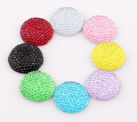 Wholesale 20mm Round Shape Flatback Resin Beads Rhinestone Beads Flat Back Stick On Cabochons Embellishment Jewelry DIY Fit Glue ZBE131
