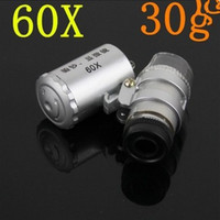 Mini 60X Joyero de la Lupa de la Lupa de Microscop de Luz LED de la venta caliente libre del envío