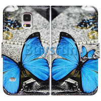 Leather beautiful wallets - Bcov Beautiful Butterfly Card Slot Wallet Leather Cover Case For Samsung Galaxy S5
