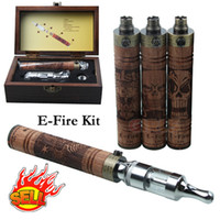 Single carving - E Fire Starter Kits Variable Voltage Battery mah Wood Carving Glass Tank X Fire EGO Thread Electronic Cigarettes with wooden Gift Box