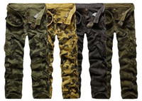 Wholesale Fashion men New Washed Men s cool Cotton Casual Military Army Cargo Camo Combat Work Pants Trousers Camo pants Multi Pocket trousers