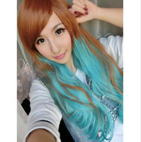 Wholesale Brown Blue Cosplay Wigs Long Curly Style Contrast Color Manga And Anime Cartoons Style C10
