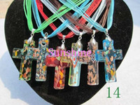 Wholesale Murano Lampwork Glass Cross Pendant Necklace ZN70