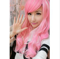 Wholesale Harajuku Wig Pink Color Long Curly Style Oblique Bang Manga And Anime Cartoons Style quot cm C14