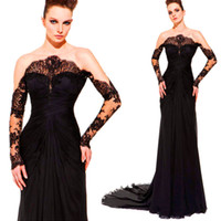 Reference Images Jewel/Bateau Chiffon Hot ! New Sexy Off Shoulder Sheath Chapel Train Chiffon Black See Through Long Sleeve Zuhair Murad Evening Dresses 2014 Long