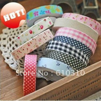 Single-Sided cotton fabric roll - DIY office adhesive japan printed fabric tape cotton printed dots floral check tape each roll in pvc box