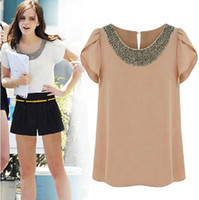 Wholesale 2014 women s European and American wild lotus leaf short sleeve beaded chiffon round neck blouses