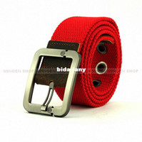 Wholesale MINGEN SHOP Hot Red Fabric With Leather Metal Buckle Men Women Unisex Leisure Belt Waistband BE0004