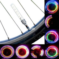 Wholesale 2 x Bike Bicycle Wheel Tire Valve Cap Spoke Neon LED Light Lamp Accessories