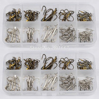Wholesale New Box fishing tackle Mixed Size Fishing Hook High Qulity Brown Color Jig Big Hook Treble Hooks