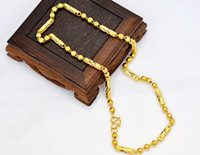 Wholesale Popular jewelry Mens chain necklace K gold plated bead necklace Eventually becoming faded Cheap jewelry Wedding Jewelry MY