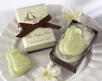 scented soap - EMS The Perfect Pair Pear in the Nest Scented Soap favor with bowknot for wedding festival party Decoration Baby Shower
