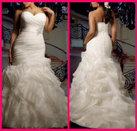 Wholesale New Custom Plus Size Sexy Sweetheart Strapless Beautifully Organza Mermaid Wedding Dress Bridal Gown