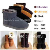 Wholesale Snow boots Australia classic tall waterproof winter warm shoes with cross lacing for women cowhide genuine leather