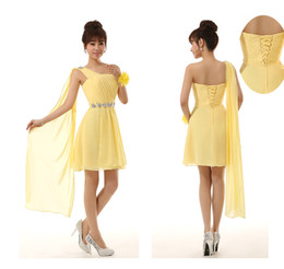 2014 NEW bridesmaid wedding rhinestone one shoulder Ribbon chiffon lace-up short cocktail formal party dress yellow red champagne blue