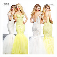 Wholesale 2014 Tarik Ediz Yellow Ivory Square Sweetheart Mermaid Short Sleeve Backless Evening Gowns Prom Dresses French Lace Organza Floor length