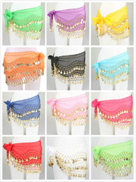 Wholesale Colors New Fashion Belly Dancing Waist Chain with Golden Coins stage outfits skirt