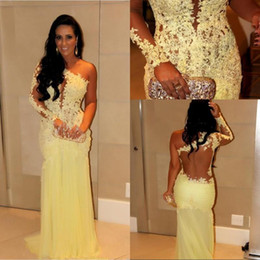 Fashion 2014 Red Carpet Formal Evening Dresses Yellow Appliques Hollow Back Long Sleeve Prom Gowns One Shoulder Tulle Long Celebrity Dresses