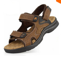 Wholesale Camel mens sandals slippers genuine leather cowhide sandals outdoor casual men leather sandals for men