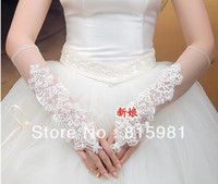 Wholesale Floral All Over Fingerless Opera Appliqued Pearl Wedding Bridal Gloves Evening Party Gloves