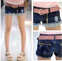Shorts Women Capris Ladies 2014 Summer Frayed Ripped Lace Hem Denim Shorts Patchwork Jeans Short Pants Plus Size 26-30 Freeshipping #2015