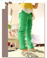 Wholesale 2014 Spring New Design Children Girls Candy Color Hole Pants Yellow Red Green Colour Kids Solid Trousers Children s Casual Jeans I0250
