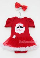 Wholesale Christmas girl set Baby Romper Jumpsuit Rompers With Bowknot Headbands Infant Girls Newborn Romper tutu Dress Cake Skirt Sets