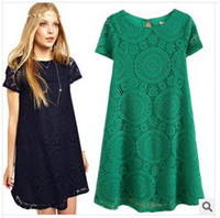Wholesale New Summer Plus Size Lace Women Dress Fashion Clothes Clothing Loose Hollow Casual Dress Female Work Wear Office Clothes