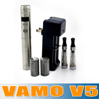 Metal vamo kit - New Arrival Silver Vamo V5 starter ego kit Set with LCD Display Variable Voltage Battery Vamo V5 Kit with Double CE4 Atomizers churchill