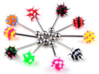 Tongue Rings Stainless Steel Halloween Wholesale 100pcs Body Piercing Silicone Spiked Koosh Ball Tongue Rings[BA23*100]