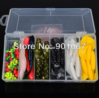 Soft Baits Ocean Beach Fishing Yes Hot Sell! 70pcs set plastic fishing lures set with box Soft Lure sleeve Lure or Soft bait Jig Big Hook Free Ship