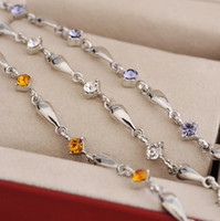 Wholesale Silver Tone Czech Diamond Anklets for Women Beach Wedding Foot Jewelry White Purple Yellow A008
