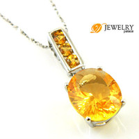 Beaded Necklaces South American Women's Wholesale Hot Fine Jewelry 12.5ct Natural Citrine Necklaces Pendant 925 Silver Free Shipping