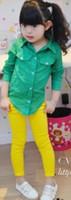 Wholesale Hot Spring Korean Design Children Girls Candy Color Pants Kids Elastic Solid Skinny Trousers Children s Colorful Jeans I0254