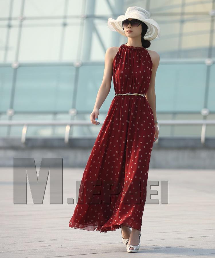 Mode Polka Dots Maxi Long Casual Summer Beach Party Robe en Mousseline