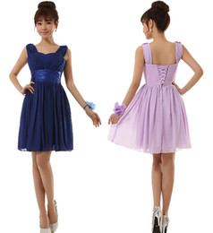 2014 new Bridesmaid Wedding short Lace-up chiffon evening cocktail ruched party dress royal blue purple champagne