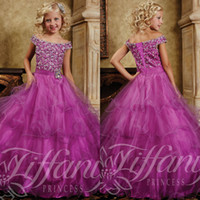 Wholesale Gorgeous Sequined Beaded Off the shoulder Junior Girls Pageant Dresses New Arrival Layer Ruffles Ball Gowns Kids Birthday Dresses TK014